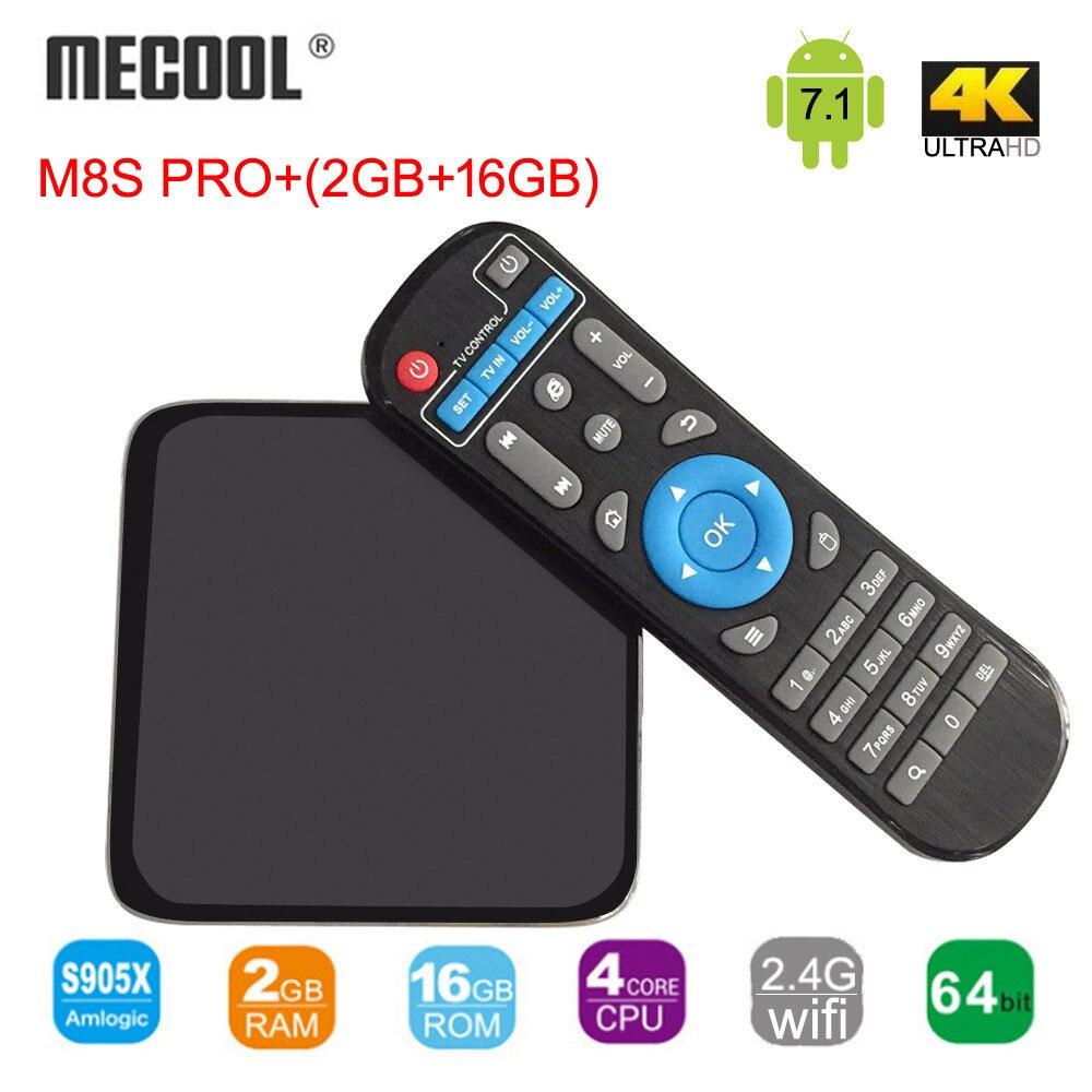 M8S Pro+ Android 7.1 TV BOX Amlogic S905X 64bit Quad-core 2GB/16GB FLASH 2.4G WIFI UDH 4K HDR 10 Media Player original magicsee iron andriod 6 0 amlogic s905x 64 bit quad core cpu 2g 16g wifi 4k uhd tv box 2 16g media players tv set