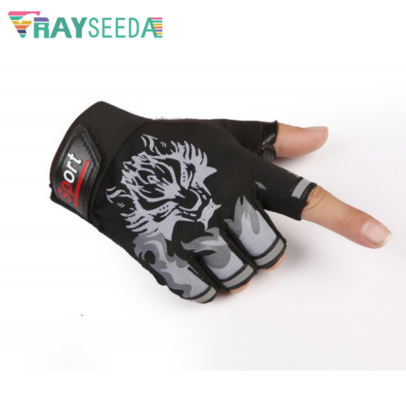 Rayseeda Wolf Half Finger Weight Lifting Gloves Adjustable Summer Breathable Running Riding Fitness Cycling Gloves For Men Women