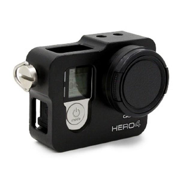NOVA Extensão De Alumínio de Proteção shell, gopro4 quadro caso de habitação + filtro uv para a câmera ir pro hero4 hero 4 acessório