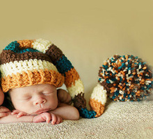 Baby Cute Handmade Knitting Striped Hat New Born Infant Baby Knit Crochet Photography Props Hats With Long Braided Accessories