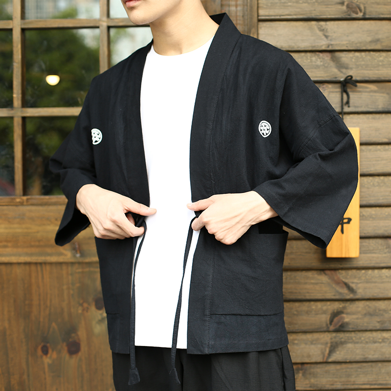 Japanese retro and wind home, Japanese style kimono mens cardigan, cotton and flax, thin and thin coat, feather man. ...