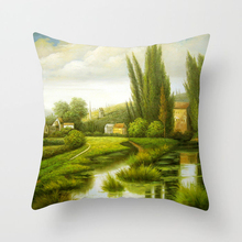 Scenic Printed Pillowcase Landscape Decorative Cushion Cover 45*45cm Square Pillow Throw Case for Sofa Bed Car