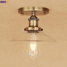 Латунный СВЕТОДИОДНЫЙ потолочный светильник в винтажном стиле с заподлицо стеклянный Домашний Светильник ing гостиная Эдисон потолочный светильник s Lampara Techo Plafonnier
