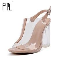 FEDIMIRO Women Sandals Sexy Clear Transparent High Heels 11 Cm Party Sandals Woman High Heel Shoes