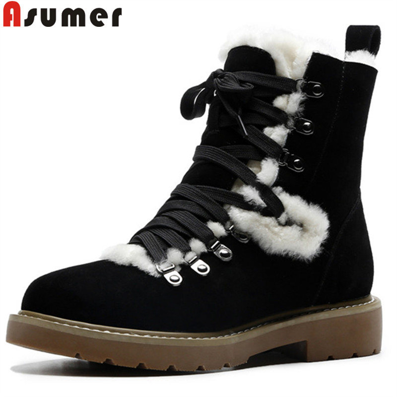 ASUMER 2018 winter snow boots women round toe lace up ankle boots for women keep warm wool suede leather boots ladies shoes стоимость