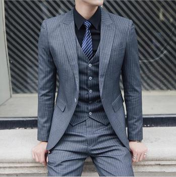 Grey Striped Casual Formal 3pcs Suit For Men New 2019 Korean Style Dress Slim Fit Mens Wedding Suits Clothing S-5XL