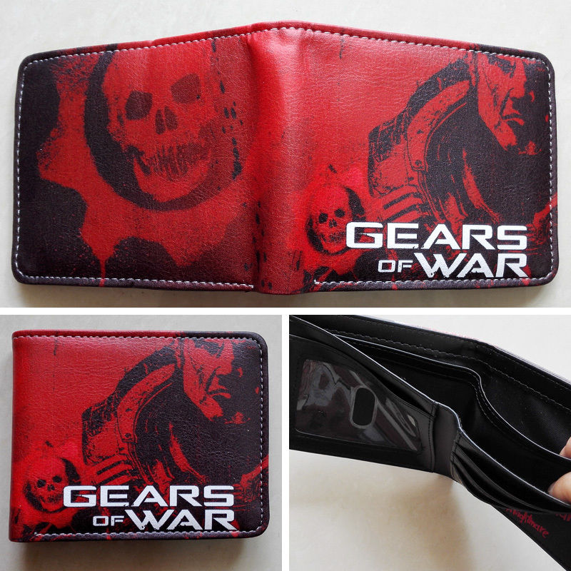 2018 EPIC GAME Gears of War Logo wallets Purse Red Leather Man women New W135 2018 epic game gears of war logo wallets purse red leather man women new w135