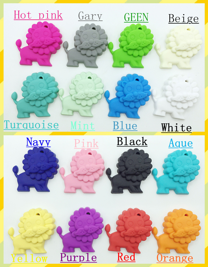HOT Ornaments Silicone Teething Lion Pendant Baby cartoon toys silicone Teething Pendant Jewelry Free shipping