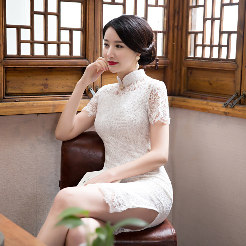 Fengmeisi New Chinese Cheongsam Short Qipao Lace White Vintage Oriental Sexy Dresses Women Tradicional Party Weeding Dress P3490 In Cheongsams From Novelty