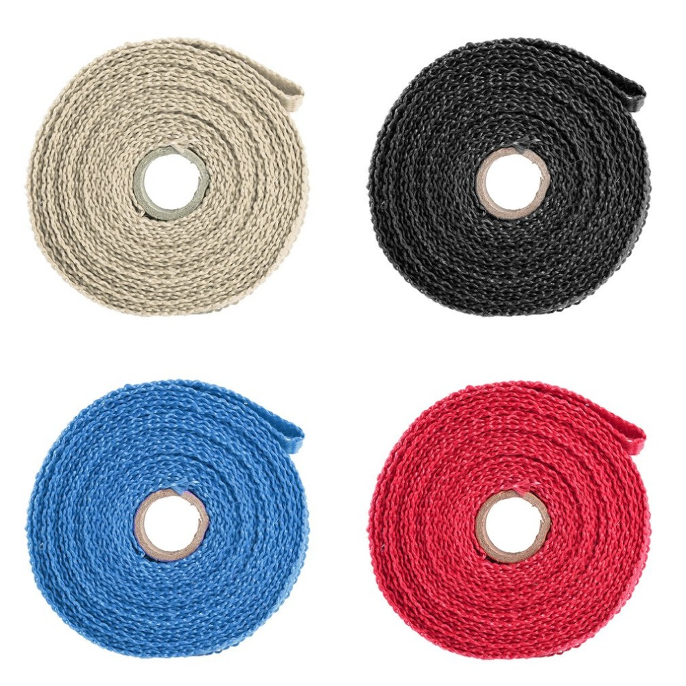 4 Colors Incombustible Turbo Manifold Insulating Exhaust Header Wrap Tape Thermal Stainless Zip Ties For Cars Motorcycles