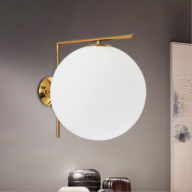 LukLoy LED Wall Lamps Cream White Glass Ball Wall Lamp Lights for Living Room Bedroom Bedside Corridor Lighting FixtureLukLoy LED Wall Lamps Cream White Glass Ball Wall Lamp Lights for Living Room Bedroom Bedside Corridor Lighting Fixture