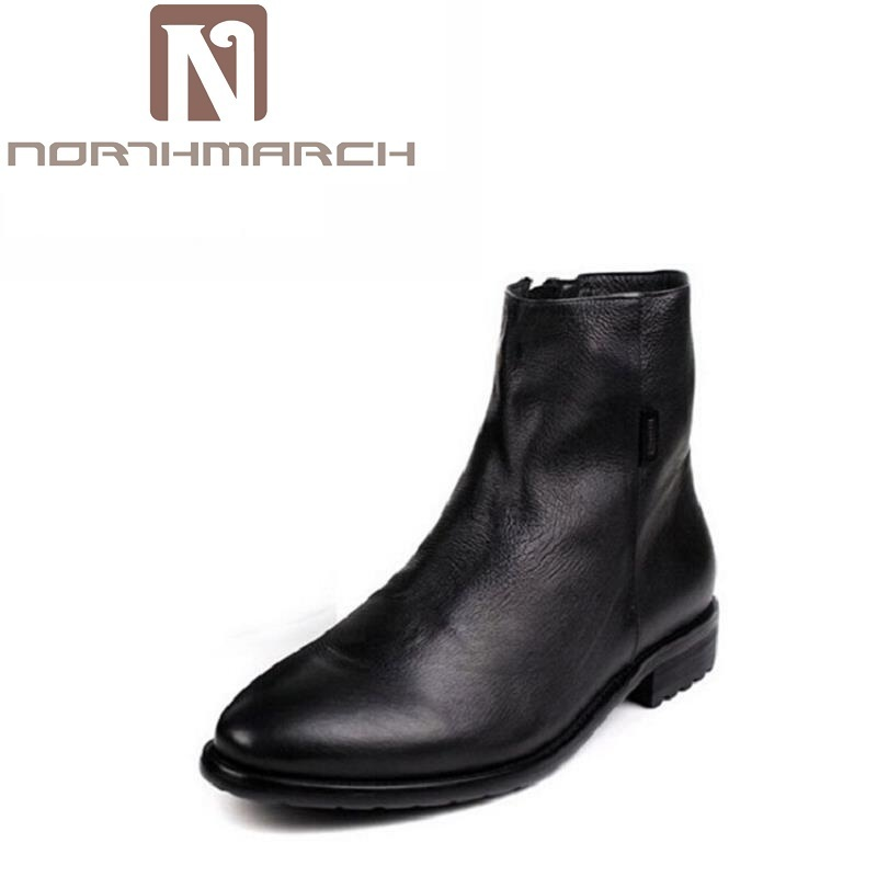 NORTHMARCH Brown / Black Pointed Toe Chelsea Boots Zipper Mens Ankle Boots Genuine Leather Rivet Men's Dress Shoes Men Chuteira choudory new winter men ankle italian shoes men leather shoes pointed toe mens black dress shoes sequined toe spiked loafers men