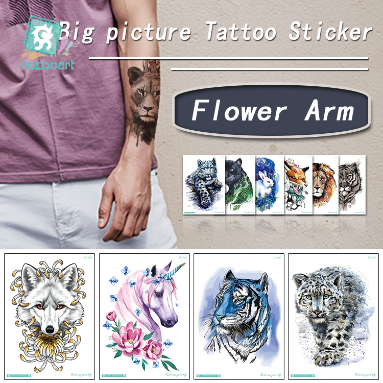 Larger Temporary Watercolor Tattoo Sticker Tiger Horse Rabbit Design Fake Sex Women Body Art ArmTaty