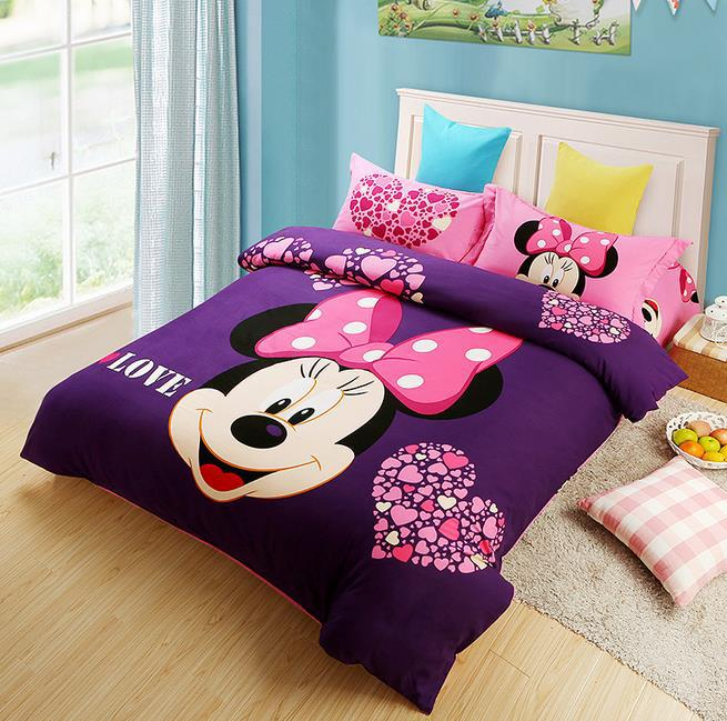 pure cotton cartoon mouse bedclothes mickey kids bed sets printing sanding bed sheets set bedding set queen size duvet cover setin bedding sets from home