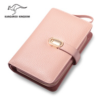 KANGAROO KINGDOM Fashion Luxury Genuine Leather Women Wallets Brand Hasp Lady Short Purse Card Holder Wallet