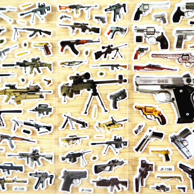 GWOLVES world famous gun stickers Random 3D sticker for kids toys ...