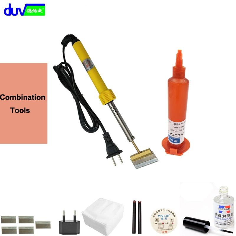 Schermo colla Remover Dispergator colla + Saldatura Elettrica Irons + TP-loca uv colla + taglio a filo + maniglie + Lama ecc.
