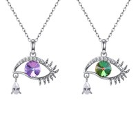 Creative Women 925 Sterling Silver Crystals Pendant Necklaces Fashion Devil's Eye Tears Zircon Pendant Lady Party Necklaces