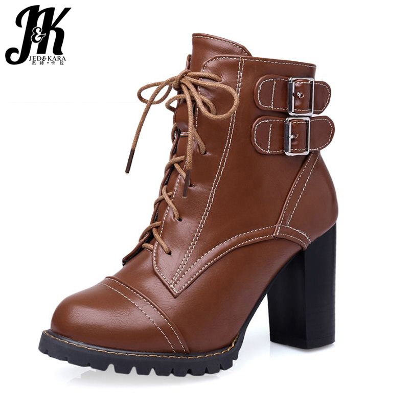 Plus Size 34-47 Elegant Thick High Heels Buckle Short Boots Lace Up Skid Proof Platform Motorcycle Fall Winter Shoes Woman big size 34 43 fashion rivets skid proof ankle boots square high heels platform shoes fall concise winter boots shoes woman