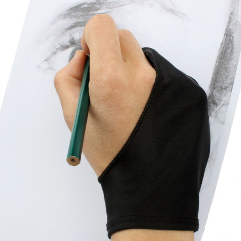 1Pc Unisex Two-Finger Painting Glove For Graphics Drawing Table Sketching Artists Anti-Fouling Stretchable Mittens Free Size