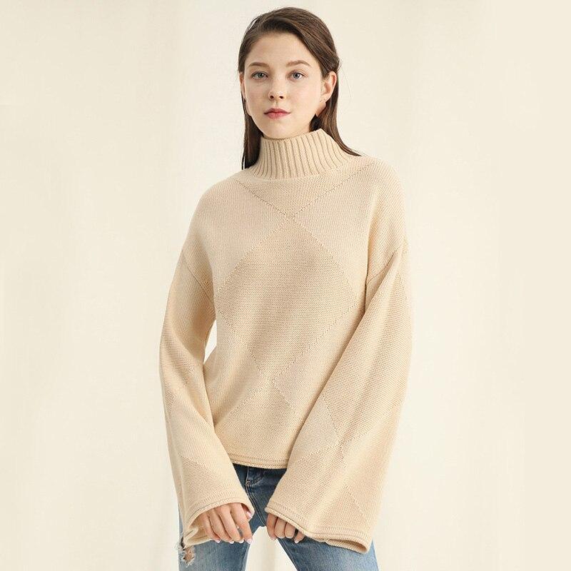 Jerseys Moda negro Punto Las Sólido 2018 Suéteres Nueva Espesar Llegada  Cálido Cuello Mujer Khaki Invierno ... d862f943fac8