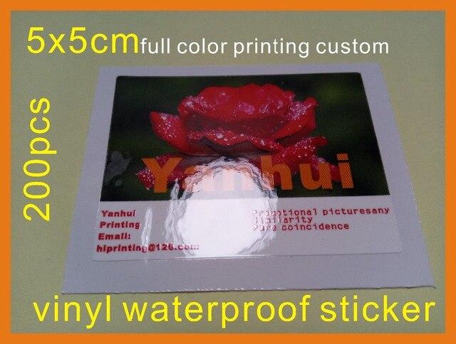 5x5cm Full Color Adhesive Vinyl Sticker Label Printing Custom Glossy Laminated 200pcs