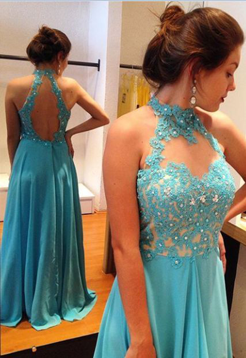 Hot Sea Blue Appliques Beaded Open Back Halter Prom Dresses