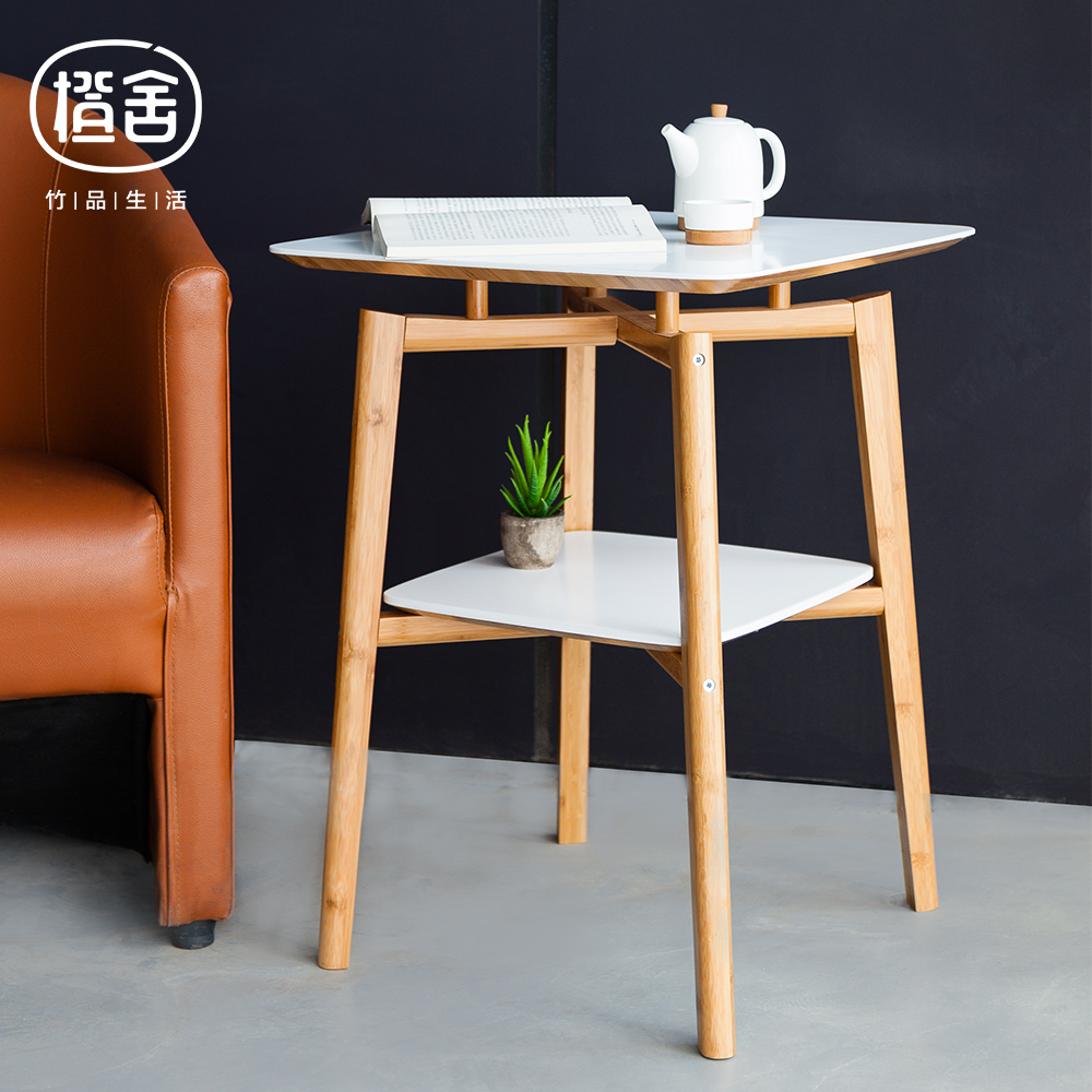 ZEN'S BAMBOO Square Tea Table Double Layer Bamboo Coffee Table Wooden Table Side table Living room/bedroom/balcony furniture