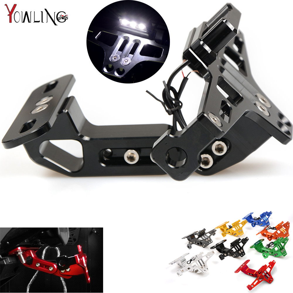 Motorcycle License Plate Bracket Licence Plate Holder For BMW F800GS F800S F800R F800GT F800ST F650GS F700GS HP2 SPORT S1000RR motorcycle tail tidy fender eliminator registration license plate holder bracket led light for ducati panigale 899 free shipping