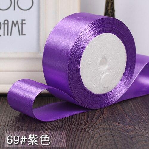 25 ярдов/рулон 6 мм, 10 мм, 15 мм, 20 мм, 25 мм, 40 мм, 50 мм, шелковые атласные ленты для рукоделия, швейная лента ручной работы, материалы для рукоделия, подарочная упаковка - Цвет: Purple