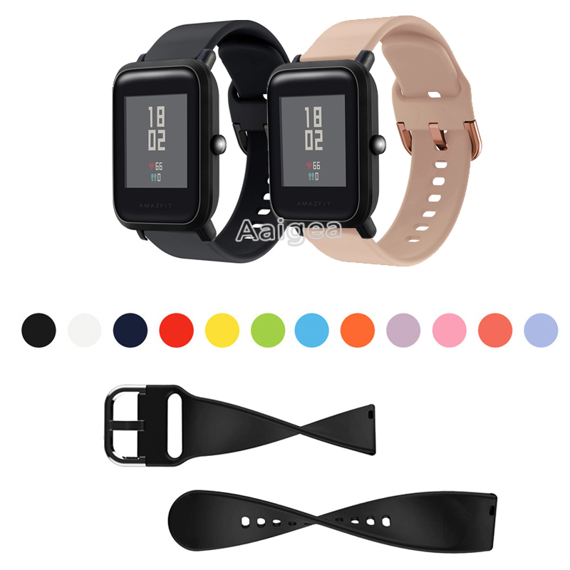 20mm Silicone Watch Strap Band For Xiaomi Huami Amazfit Bip Smart Watch Replacement Sports Bracelet Wrist Band Strap Men Women
