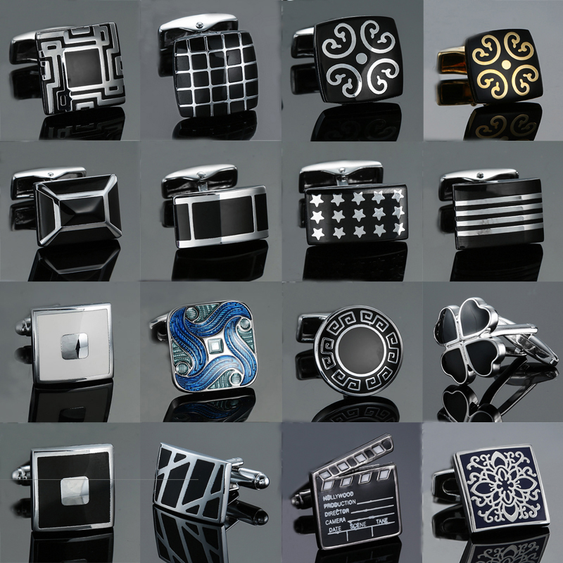 Fashion Men's Cufflinks Stainless Steel Business Cufflinks For Gentlemen Steel Stamping Cuff Links Hand Engraving Men Jewelry