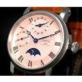 42 мм parnis розовый циферблат SS чехол gmt Moon Phase кожаный ремешок с ручным заводом механические мужские часы