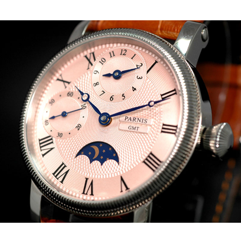 42mm parnis Pink Dial SS Case gmt Moon Phase Leather strap Automatic Mechanical men's Watch 42mm parnis pink dial gmt moon phase hand winding movement mens watch pa061