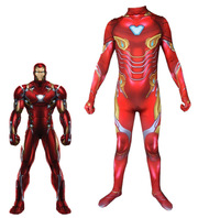 Avengers Endgame Iron Man 3D Print Bodysuit Advanced Tech Cosplay Costumes 2019 new kids adult superhero Jumpsuits Bodysuit Suit