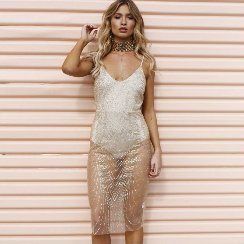 Women Gold Silver Sequins Dress Sexy V-neck Backless See Through Dress  Sequined Party Club Dress Bodycon Strap Dress 8be5ca12ae0f