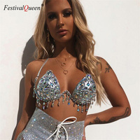 Sexy Halter Crystal Sequin Swimwear Rhinestone Diamond Silver Bikini Set Women Swimsuit Push Up Swimwear Women Bathing Suits