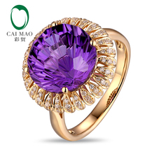 Free shipping 6.85ct Amethyst 14kt Gold 0.23ct Natural Diamond Engagement Ring