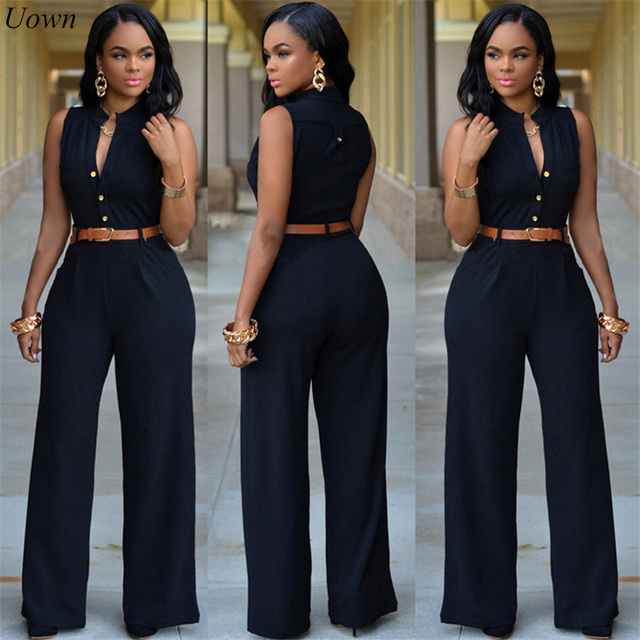 5fa9be08ed Fashion Women Summer Romper Jumpsuit Sleeveless Wide Leg Long Pant Party Jumpsuits  Overalls Solid Loose Slim