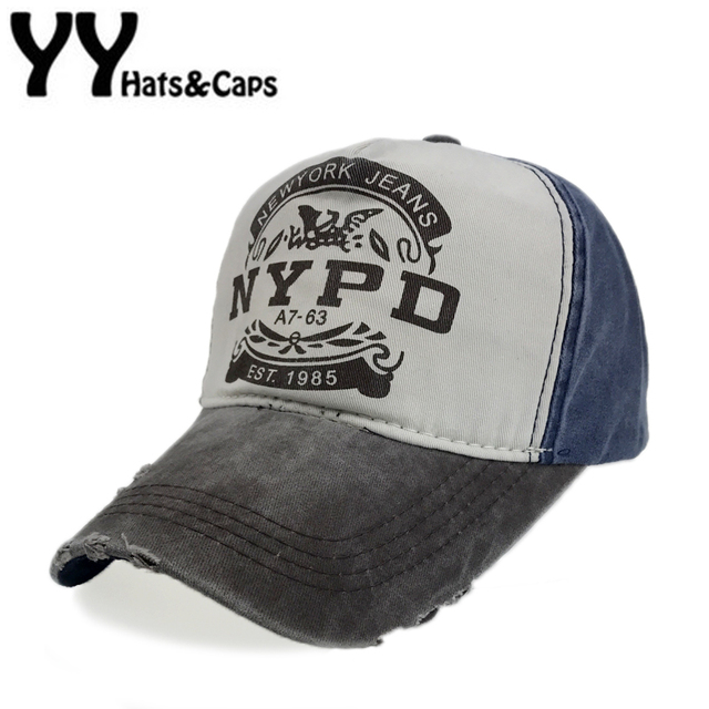 Retro Baseball Cap Fit Fitted Hat NYPD Cap Men Snapback Washed Cap Women  Bone Dad Hat 8f955edfd9ae
