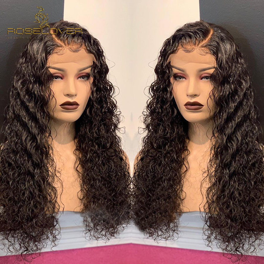 Glueless 360 Lace Frontal Wig Pre Plucked with Baby Hair Curly Human Hair Wigs Brazilian Remy