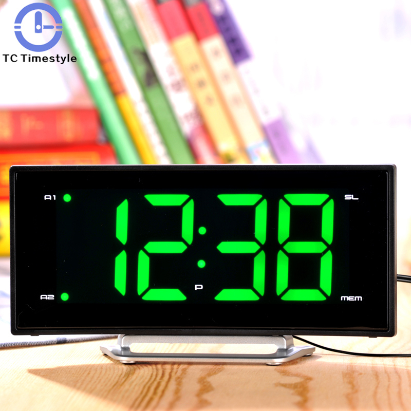 Arc Led Big Display Alarm Clock Modern Decoration Desktop Clock with Radio Student Bedside Snooze Alarm Clock Adjust Brightness