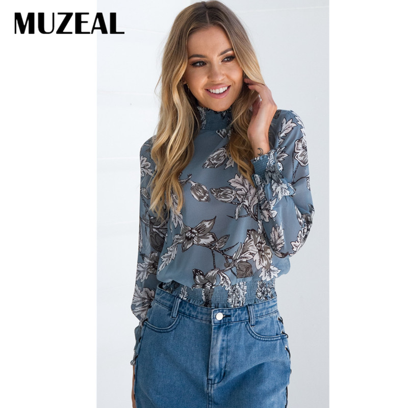 MUZEAL high neck woman long sleeve blue blouse chiffon loose all match elastic cuff office lady