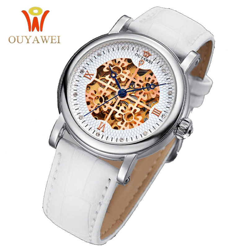 2016 Newest OUYAWEI skeleton watch Top Brand Luxurygold watch for font b women b font leather