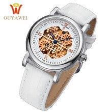 2016 Newest OUYAWEI skeleton watch Top Brand Luxurygold watch for women leather Mechanical Wristwatches relogio feminino dourado