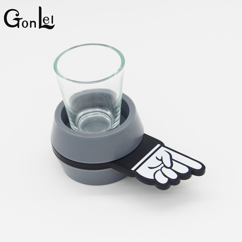 GonLeI Spin The Shot Glass Drinking Game Fun Party Gifts,Turntable Toys Drinking Game Shot Glass Gags Practical Jokes image