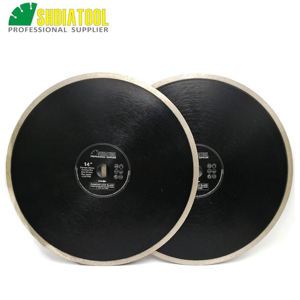 DIATOOL 2pcs Dia300mm Or 350mm Hot Pressed Continue Rim Diamond Blades Ceramic Tile Porcelain Tile Ceramic Diamond Cutting Disc