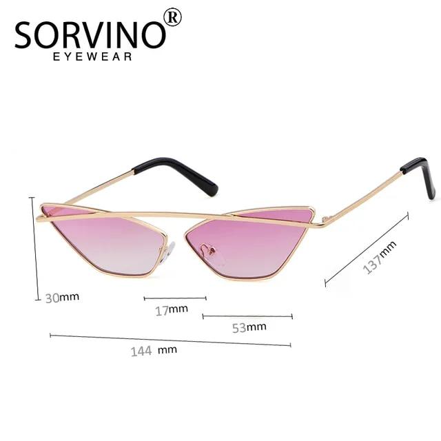 SORVINO Vintage Shades for Women Cat Eye Sunglasses Luxury Brand Designer Trendy Small Rose Gold Black Cateye Sun Glasses SP294