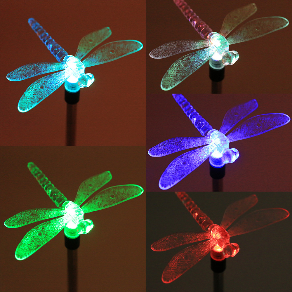 ICOCO Hot Sale Multicolor LED Outdoor Solar Lamps Dragonfly/Butterfly/Bird  Lawn Light Transparent