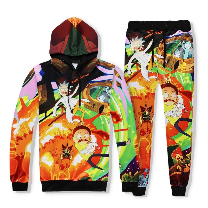 Spring Autumn Brand Clothing Fashion Funny 3D Print Set Clothes Tracksuit Set Men Women Hip Hop Cartoon Rick And Morty R2408